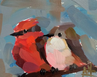 Two Vermilion Flycatchers no. 2 original bird oil painting by Angela Moulton 6 x 6 inch on birch plywood panel pre-order