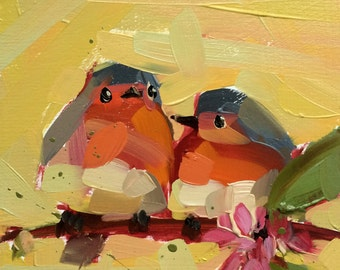 Two Robins no. 33 Art Print by Angela Moulton 8 x 8 inches