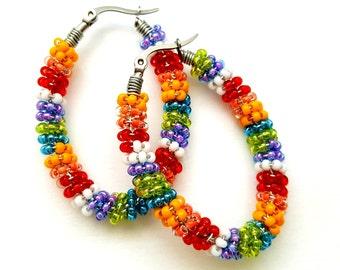 Beaded Hoop Earrings - Rainbow Jewelry - Wire Wrapped Earrings - Lesbian Girlfriend Gift - LGBT Jewelry - Beaded Hoops - Seed Bead Earrings