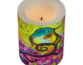 Pink Morning Hummingbird Flameless Candle and Wrapper