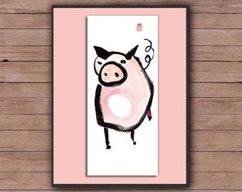 Pig, Year of the Pig, Chinese Zodiac, Original Zen Art Sumi Ink Painting, zen japanese illustration, zen decor, childrens room, nursery, tao