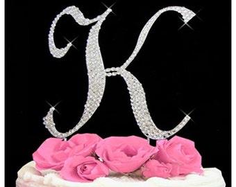 swarovski crystal cake topper letter k swarovsky rhinestone cake topper wedding birthday anniversary monogram letter cake topper