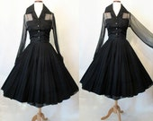"Exquisite 1950's ""New Look"" Black Silk Chiffon Cocktail Party Dress w/ Rhinestone Buttons Rockabilly VLV Pinup Girl Holiday Dress Size-Small"