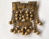 Antique Dangle Brooch Cricket Cage Beads Gold Tone Chains