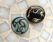 Art Nouveau Enamel Buttons Antique Buttons Old Inlay Buttons