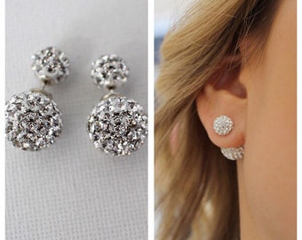 Double side Earring, Stud earrings Double stud earrings, Double crystal earrings, Double side earrings, Double pave stud earrings, stud