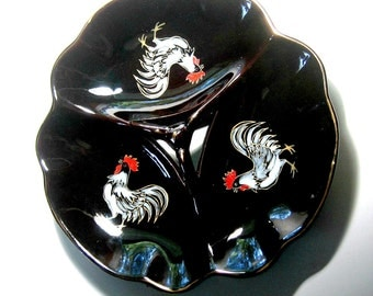 Redware Rooster Plate, Vintage Redware Divided Plate, Redware Chicken Rooster Plate, Divided Vintage Redware Rooster Plate