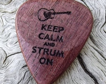 Wood Guitar Pick - Premium Quality - Handmade From Purpleheart - Laser Engraved on Each Side - Actual Pick Shown - Artisan Guitar Pick