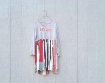 funky tattered bad girl tunic upcycled romantic Upcycled clothing Dress Eco Dress / Artsy Dress by CreoleSha