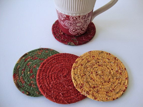 AUTUMN Fall Coasters Set of 4 Multicolored Coiled by ...