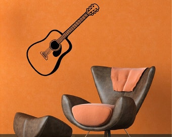 Acoustic Guitar Decal Removable Guitar Wall Sticker
