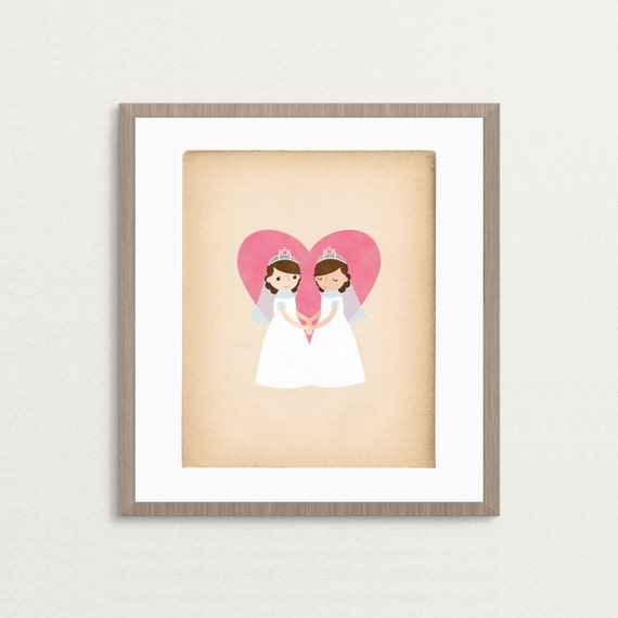 Bride and Bride Wedding - Customizable 8 x 10 Archival Art Print