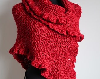 Bright Red Color Textured Acrylic Yarn Knitted Ruffled Wrap Shawl Stole