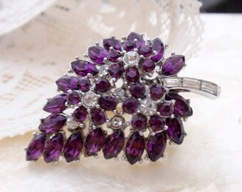 Crown Trifari Purple  Marquise Rhinestone Leaf Vintage