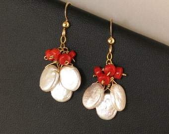 Red Coral and White Pearl Cluster Earrings, Red and White Holiday Earrings