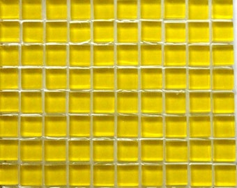 100 (10mm) Lemon Yellow MINI Crystal Glass Mosaic Tiles 3/8 in.//Mosaic Supplies//Pieces//Craft//Jewelry