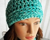 Two Tone Crocheted Beanie - Mint, Teal, Sparkle, Winter Accessory, Hat