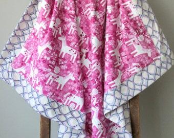 Modern Flannel Blanket, Unicorns, Hot Pink and Purple, Receiving Blanket, Baby Blanket, Flannel Receiving Blanket, Baby Girl, Handmade