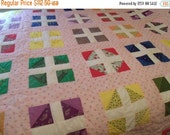 Valentines SALE Vintage Hand Made Quilt, Hand quilting,Patchwork, Block Quilt, Double / Full / Queen Size