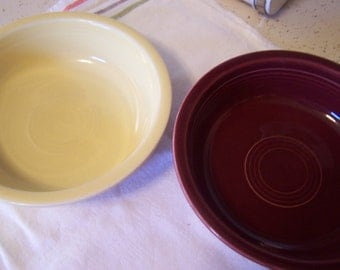 Vintage Fiesta Bowls (2), Cereal / Soup Bowls, Burgundy, Yellow Bowl, HLC, Country Chic Kitchen Farmhouse