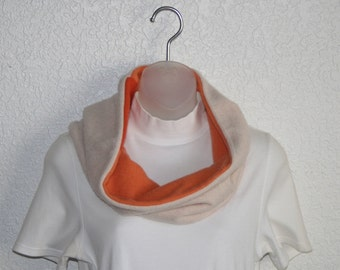 Cashmere cowl - felted and upcycled - Orange and tan