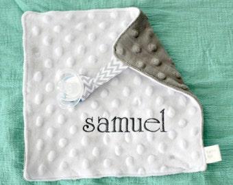 Personalized minky baby pacifier lovey blanket