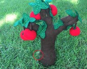 Kids Apple Tree - Small Plush Apple Tree with 6 pickable Fruits - Garden Plush Toy - Children's Tree educational Toy for School or Museum