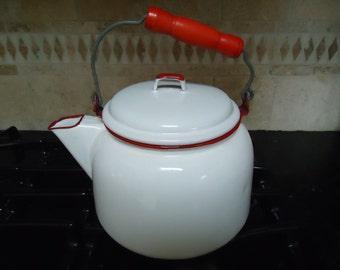 Vintage Large White Enamel Teapot With Red Trim