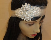 ON SALE Bridal Headband, Pearl Headband, ALEXIA, Rhinestone Headband, Bridal Headband, Tulle Headband, Bridal Headpiece