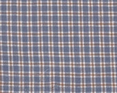 """Copen Blue Tan & White  Plaid Fabric -16"""" Long x 42"""" Wide Remnant ~ Material 4 Scrap Quilt Piecing - Fun Sewing Projects  Inventory # PL 1"""