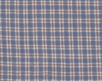 "Copen Blue Tan & White  Plaid Fabric -16"" Long x 42"" Wide Remnant ~ Material 4 Scrap Quilt Piecing - Fun Sewing Projects  Inventory # PL 1"