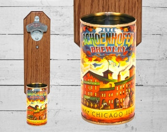 Peter Schoenhofen Chicago Wall Mounted Bottle Opener with Vintage Historic Brewery Beer Can Cap Catcher