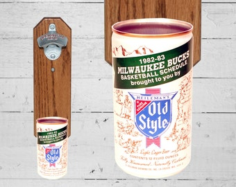 Milwaukee Bucks Wall Mounted Bottle Bottle Opener with Vintage Heileman's Old Style NBA Basketball Beer Can Cap Catcher - Gift for Groomsmen