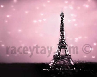 Paris Photography- Pink- Eiffel Tower With Hearts- Baby Girl Nursery Decor- Bedroom Wall Art