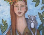 "painting folk art expressionist portrait woman and cat 18""x24"" original oil on stretched linen"