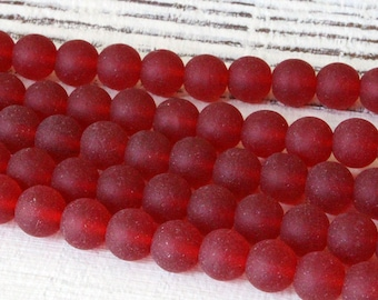 6mm Round Seaglass Beads - Jewelry Making Supplies - Frosted Glass Beads - Varied Amounts - Red Seaglass