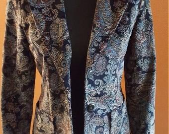 Vintage Velvet Paisley Print Jacket