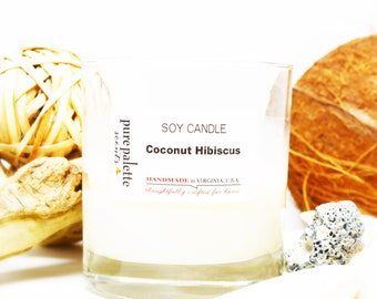Coconut Hibiscus Scented Soy Candle with Kraft Round Box