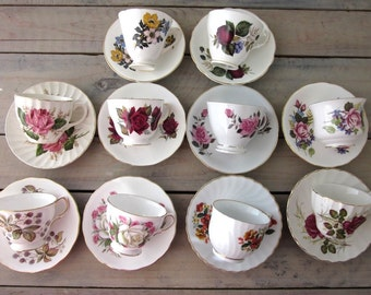 Vintage Mismatched China Teacups and Saucers Set of Ten