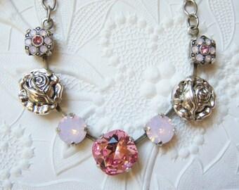 Swarovski Lt Rose and Rose Water opal necklace -LR1261