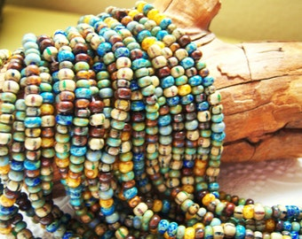 6/0 Czech aged seed bead mix,Caribbean blue striped Picasso beads, lot of (10)  inch strand-  VK138