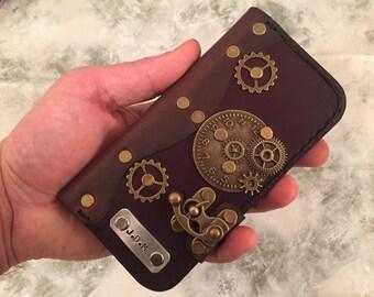 Handmade leather iPhone 6 case - steampunk iPhone case - leather iPhone 6 cover - personalized iPhone 6 case - dark brown iPhone 6 case