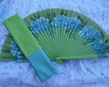 hand painted spanish fan with fabric coordinated bag FREE SHIPPING
