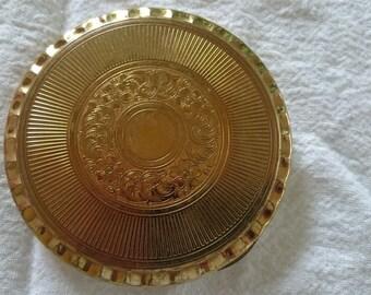 Vintage Kigu Gold Metal Powder Compact 1950's