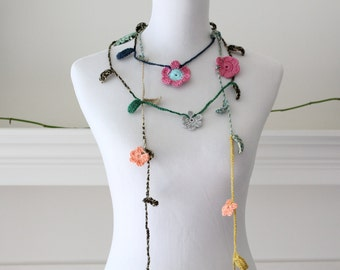 Crocheted Green Pink Brown Orange Lariat, Necklace, Scarf, Scarflette