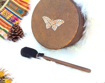 """BUTTERFLY SPIRIT  Joy & Transformation - 8"""" diameter Native American style shamanic drum with custom totem and symbology artwork"""