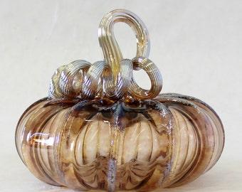 Hand Blown Glass Art Sculpture TEA Pumpkin Oneil 6338