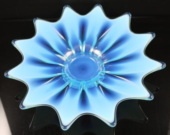 Fostoria Heirloom, Blue Opalescent Flower Float 10 Inch
