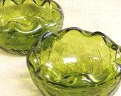 Green Glass Bowl , Pair of Bowls , Serving Bowl , Green Glass , Snack Bowl , Nut Bowl , Candy Dish , Glass Dish , Potpourri Bowl ,Decorative