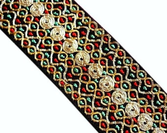 """Black Hand-Embroidered Trim - Gold and Silver Embellished Cording Metallic with Red and Turquoise French Knots - 33"""" x  2"""" - Ethnic Trim"""